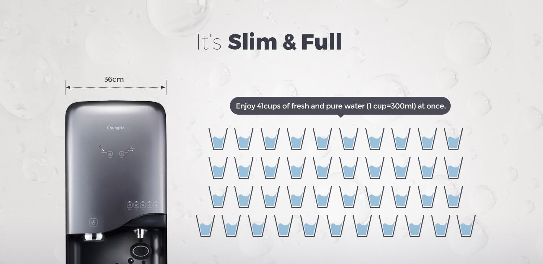 Chungho new 700 có thể cung cấp 41 cốc nước tinh khiết cùng một lúc
