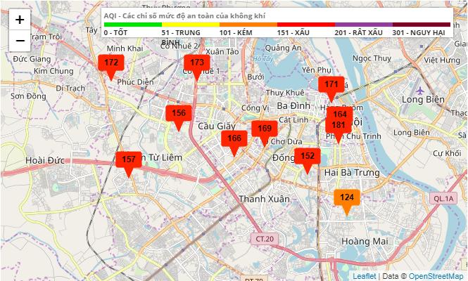 Chất lượng không khí ở Hà Nội đang ở mức xấu