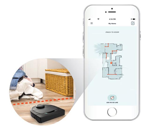 Với điện thoại của mình bạn có thể kết nối, điểu khiển và kiểm soát hoạt động của Neato D5 Connected
