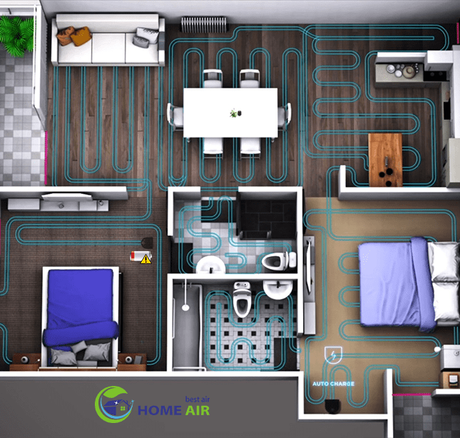 D5 Connected có diện tích làm sạch lớn với chế độ tự về sạc