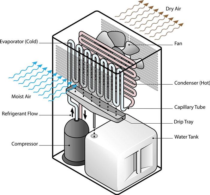 Nguyên lý máy hút ẩm làm việc: Máy hút ẩm hoạt động như thế nào?