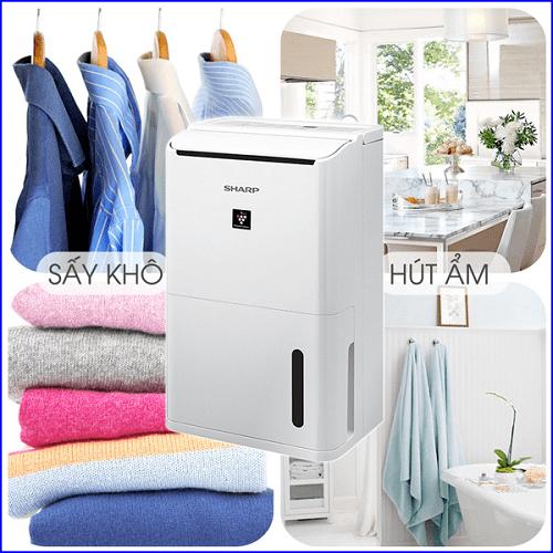 Sấy khô quần áo nhanh chóng của Máy lọc không khí và hút ẩm Sharp DW-D12A-W