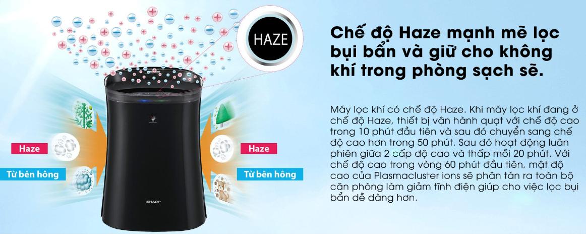 Tính năng Haze của Máy lọc không khí bắt muỗi Sharp FP-GM40E-B